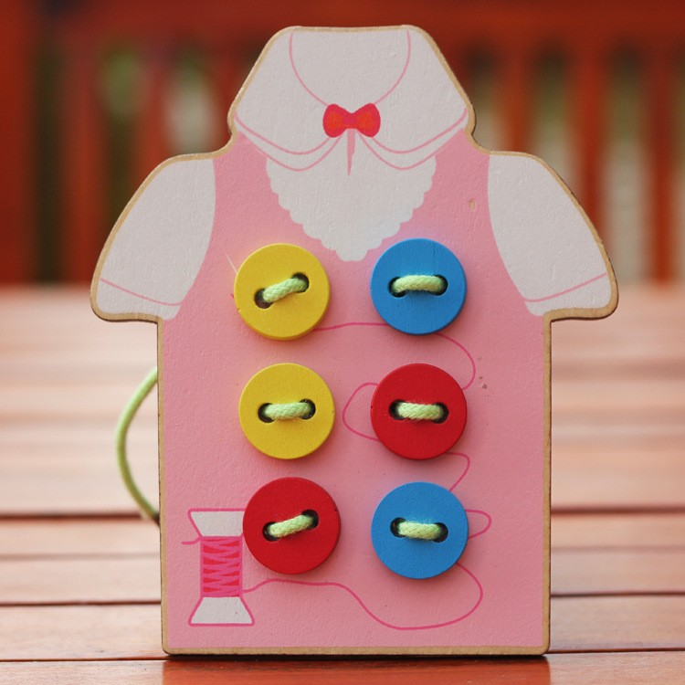 Kids Montessori Educational Toys Children Sew on a button Wooden Toys Educational Supplies(China (Mainland))