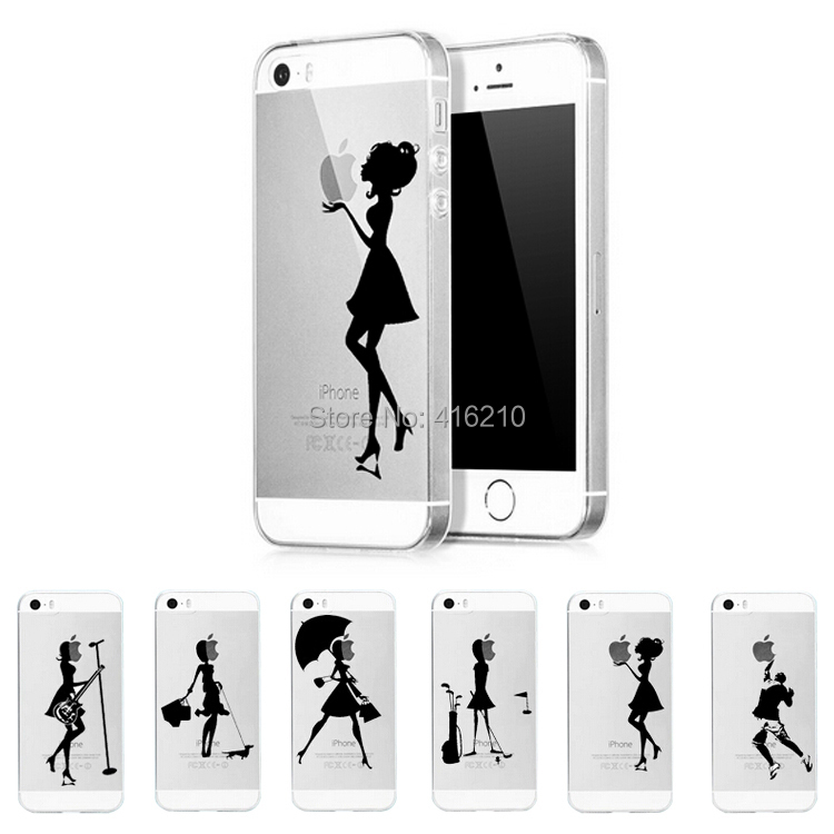 Ultra Thin Transparent TPU Case iPhone 4 4s&5 5s apple Logo Clear Fashion Pretty Girls Back Cover Cases - MOQINO Store store