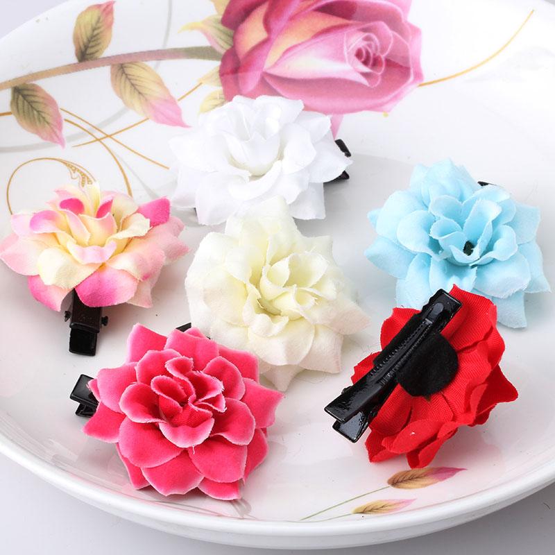 Summer New Girls Hair Accessories Baby Peony Fabric Flower Hairpins Princess Silk Barrettes Ornaments Children Cute Hair Clips(China (Mainland))