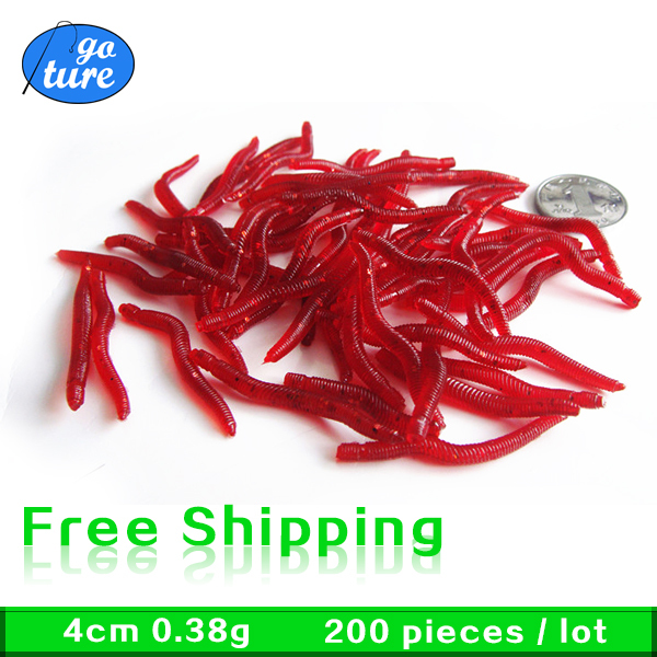20 Fishing Soft Bait Lures Red Earth Worms Lure 4cm - Goture Store store