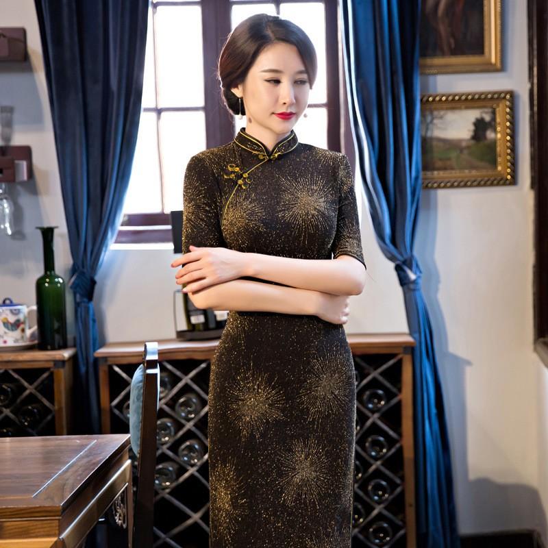 สีดำวินเทจสตรีกำมะหยี่ยาวCheongsamจีนแฟชั่นสไตล์การแต่งกายที่สวยงามQipaoขนาดSml XL XXL XXXL F101310 ถูก
