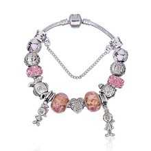 New European Antique Pink Rhinestone Charms Handmade Bracelet fit Pandora Bracelets & Bangles For Women(China (Mainland))