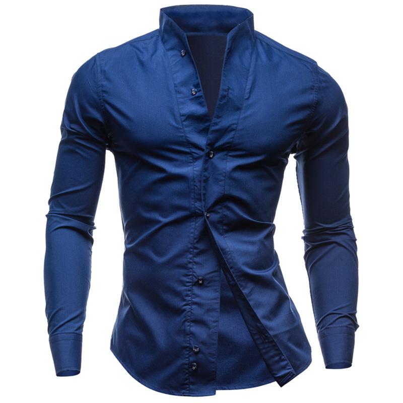 2016 Men Shirt Camisa Masculina Fashion High Quality Long Sleeve Solid Mandarin Collar Slim Casual Shirts Mens Tops Size M - 2XL(China (Mainland))