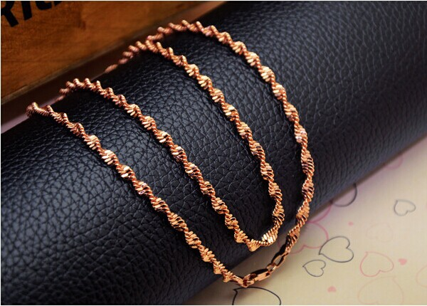 Classic 18k rose gold filled girls womens hollow twisted singapore chain thin necklace 18inches 2mm 2grams