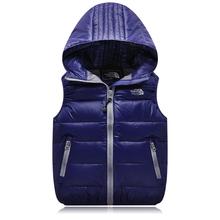 2016 new unisex hooded down vest children clothing autumn winter jacket liner 80 White duck down