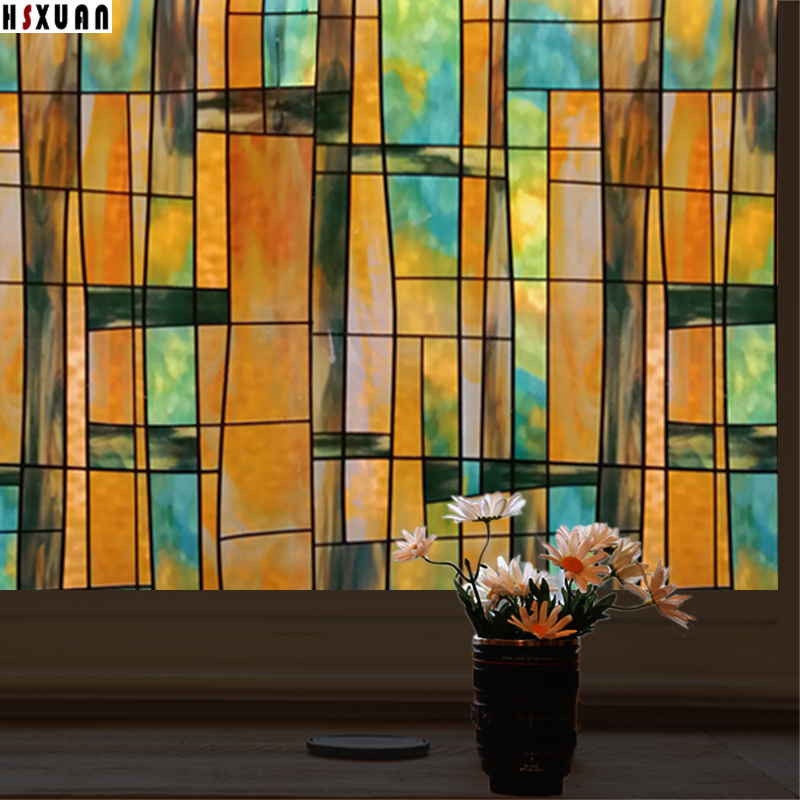 80x100cm Hot New Window Film PVC Frosted Static Cling Stained Glass door Stickers on window Hsxuan brand 803201(China (Mainland))