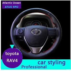 ATUO PRO 2013 2014 2015 toyota RAV4 Leather Steering wheel cover RAV4 car styling RAV4 Steering cover car parking(China (Mainland))