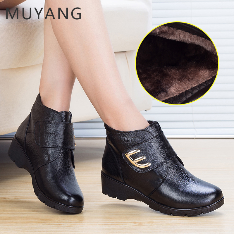 2014 winter genuine leather wedges cotton-padded shoes quinquagenarian boots genuine leather cotton-padded shoes snow boots