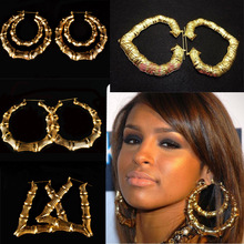 Hot Rihanna Basketball Wives Gold Silver Tone Heart  Star Single/double Bamboo Joint Hoop Earrings Jewelry ,Large hoop Earrings(China (Mainland))