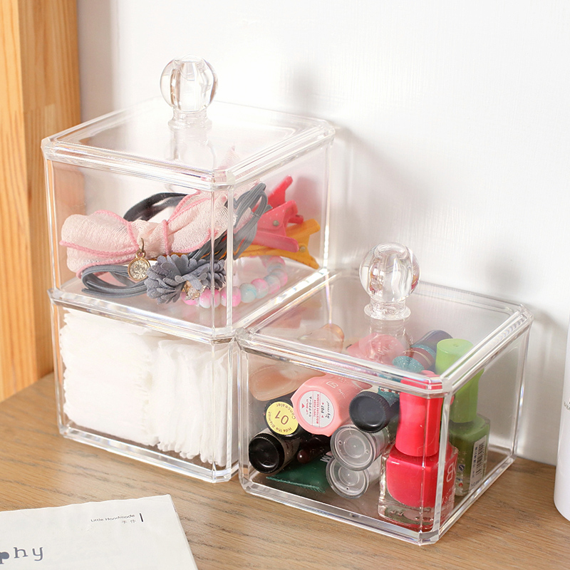 Clear Acrylic Cotton Swab Box Q-tip Storage Holder New Design Cosmetic Makeup tool Women Storage Box With Lid Acrylic storagebox(China (Mainland))