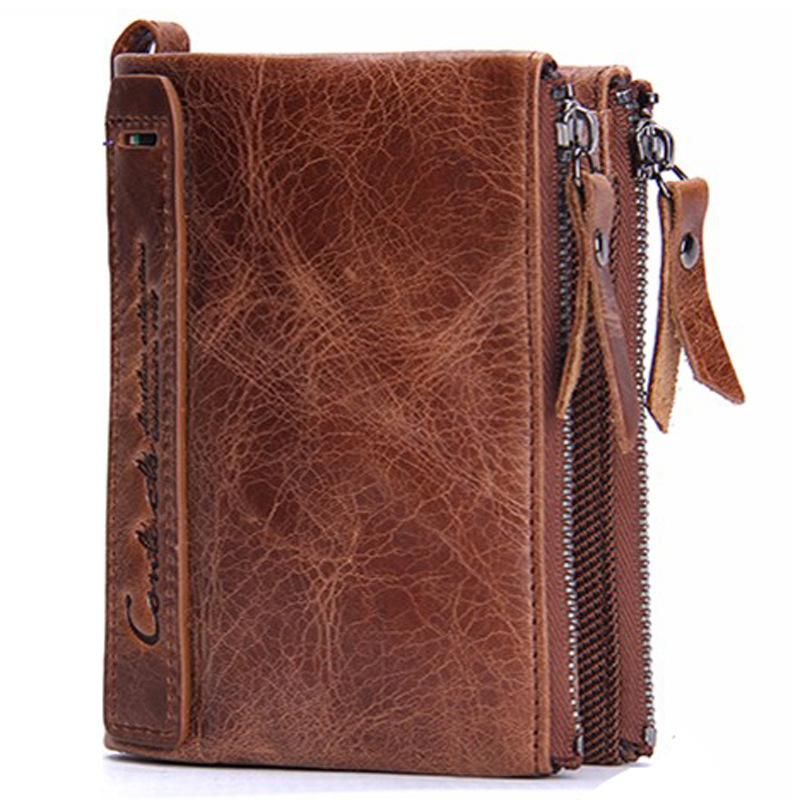 2017 Cool Designer Bifold Leather Wallets For Men Purse Double Zipper Crazy Horse Genuine Leather Brown Black Wallet Short Type(China (Mainland))