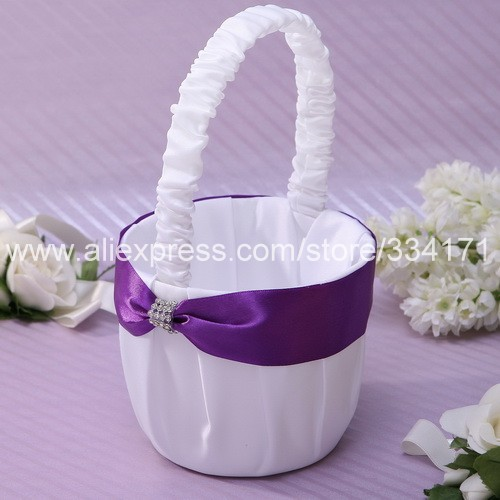 free shipping Flower Basket Lilac Ribbons wedding supplier HL1054(China (Mainland))