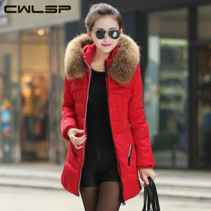 CWLSP New 2015 Jacket Winter Coat Thicken Slim Female Raccoon Fur Collar Long Coat Women Casual Parka Coat Plus Size S-4XL SH69(China (Mainland))