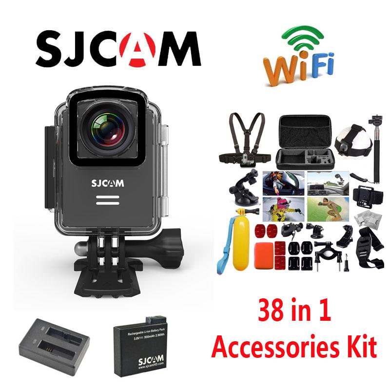 Бесплатная Доставка!! оригинал SJCAM M20 Wi-Fi Водонепроницаемый Спорт Действий Камеры + Дополнительная 1 шт. Батарея + Зарядное Устройство + 38 Шт. Аксессуары комплект