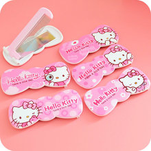 1 Pcs.Cute Pink Hello Kitty Bow shape Foldable Comb Mirror Suit.Pocket Mirror.Cartoon Girl Portable Cosmetic Makeup Mirrors+Comb(China (Mainland))