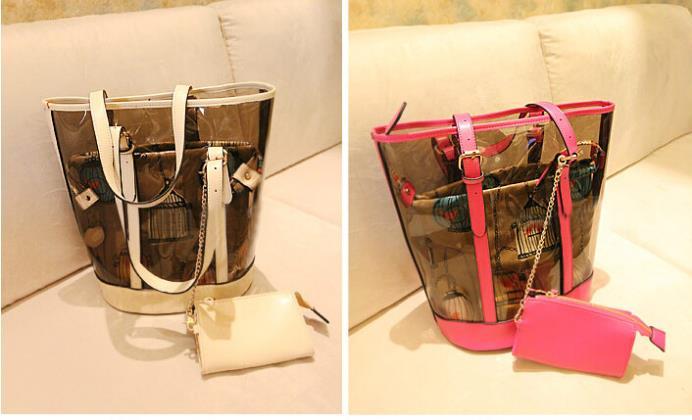 2014 fashion women handbag barrel pattern messenger bags high capacity transparent jelly shopping bag summer beach - mushroom love store