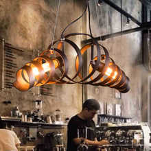 Vintage wrought iron industrial lighting fixture,2 heads spiral Spring shape lampshade pendant lamp warehouse bar cafe droplight(China (Mainland))
