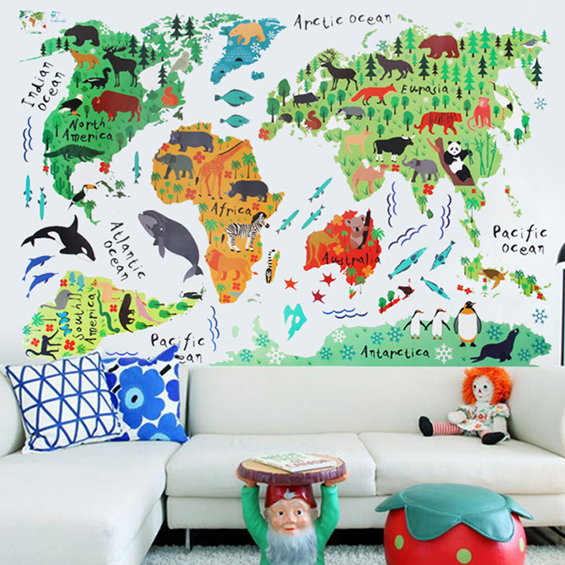 1pcs Colorful Animals World Map Wall Stickers 60*90cm Fashion Cartoon PVC Wall Decals Poster Creative Background For Kids Rooms(China (Mainland))