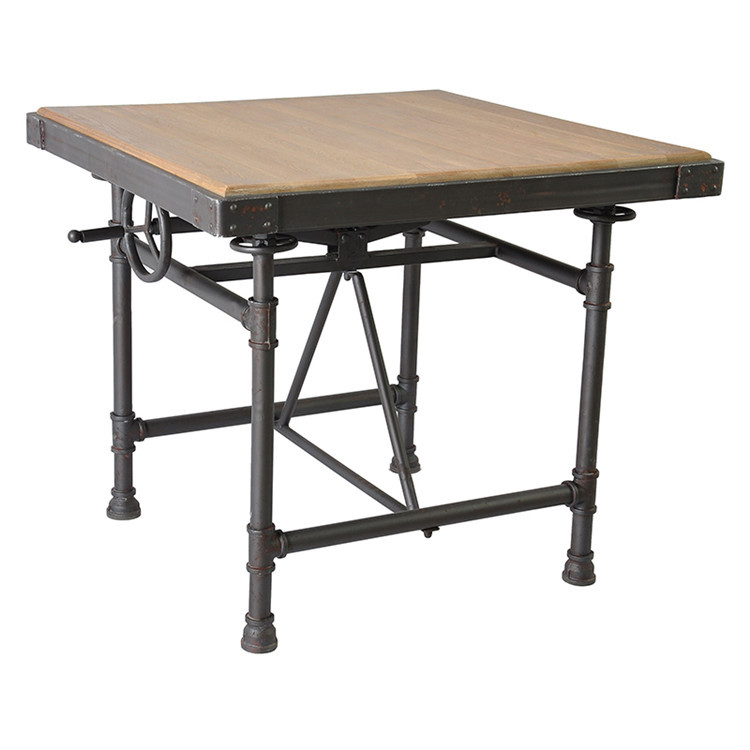 Creative Vintage American Country Wood Dining Table Coffee Table Wrought Iron Bar Stools Bar
