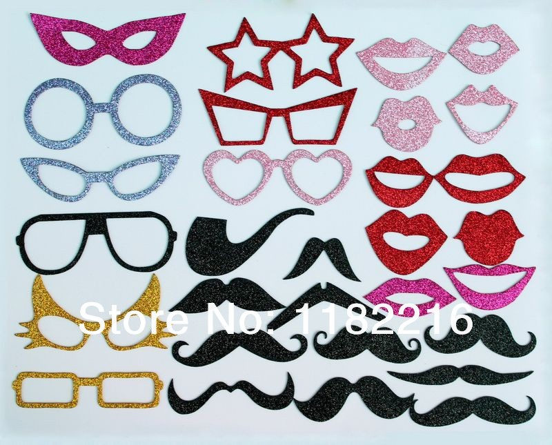 Free Shipping 30pcs/set Shiny EVA Photography Photo Booth Props Mustache Glasses Lip On a Stick For Wedding Party Funny Mask(China (Mainland))
