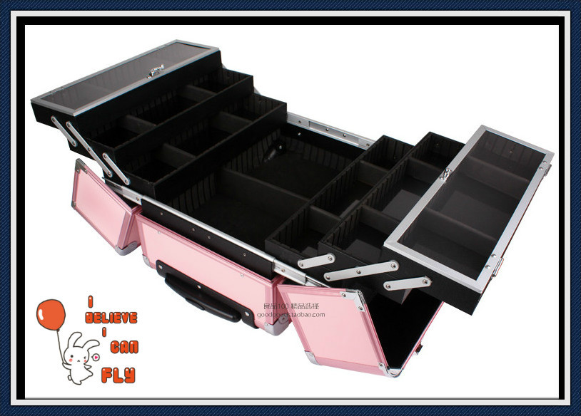 DHL Free Shipping Professional Aluminum Case Cosmetic Case Trolley Beauty Case with wheels(China (Mainland))