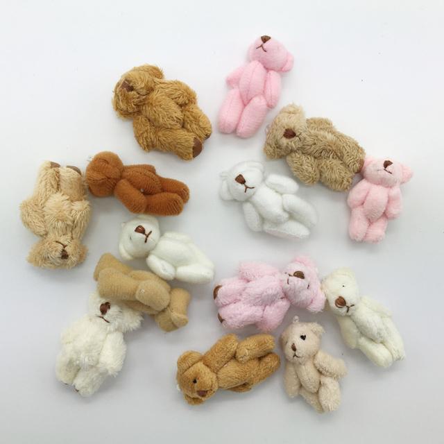 14 шт./лот 4 см 3 стиль смешанные цвета супер милый мини-суставные плюшевый медведь малыш игрушки мягкие куклы свадебный подарок для детей BL1145-Mixed