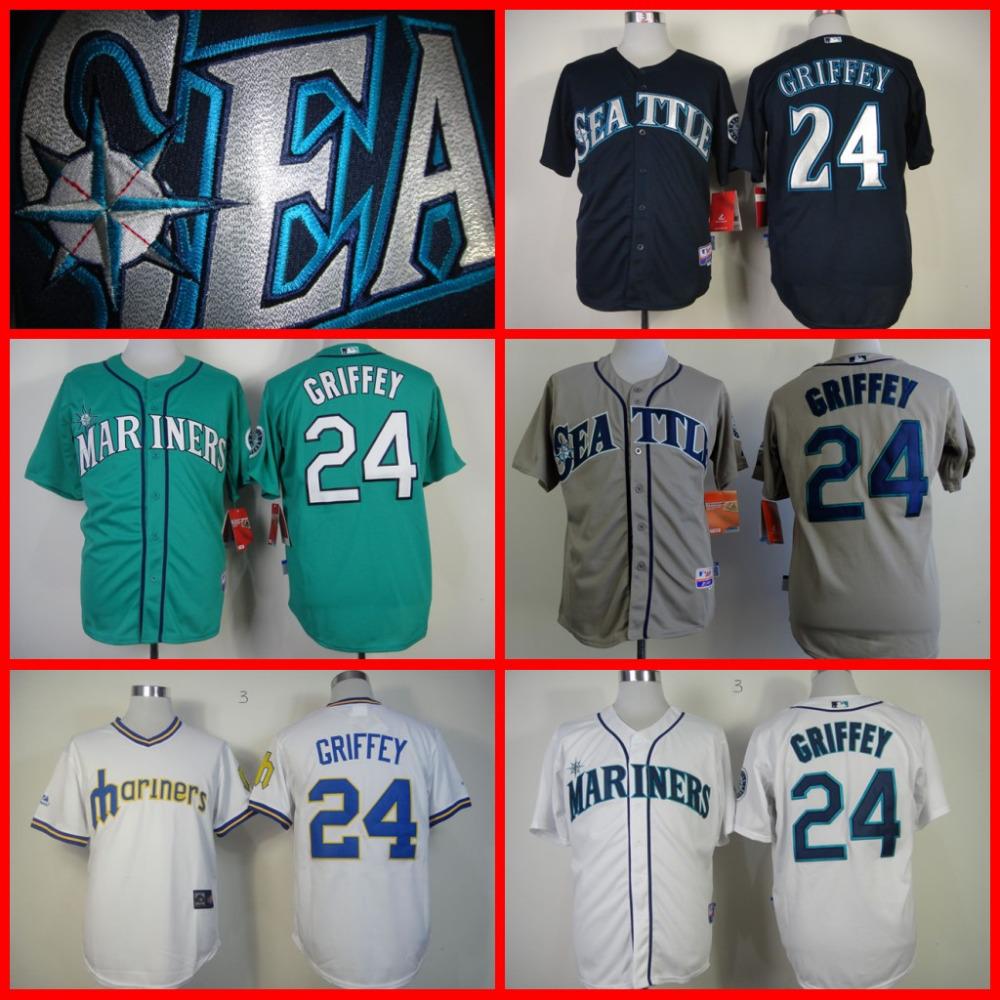 Hot sale 2015 Seattle Mariners Authentic Jerseys #24 Ken Griffey jr jersey throwback Baseball Jersey/shirt S-3XL(China (Mainland))