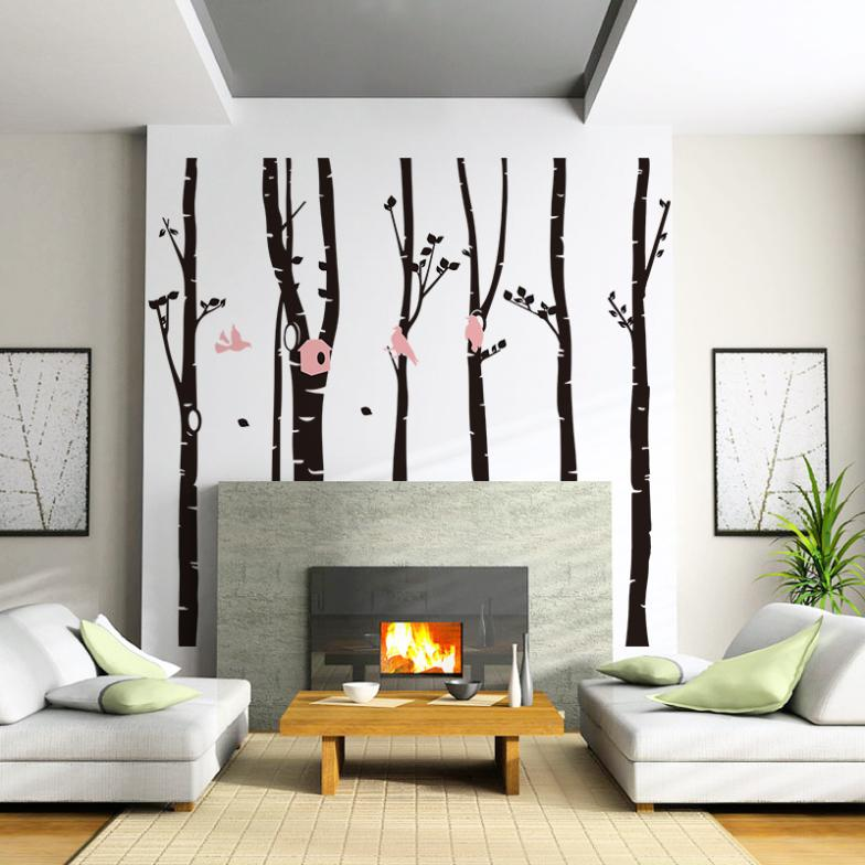 2015 Modern Plant Xl Extra Large Family Tree Birds Wall Sticker Pvc Removable Waterproof