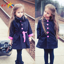 Autumn Winter New Kids Children Girl Fashion Cute Vogue Trench Bowknot Outwear Long Sleeve Button Polka Parka Jacket Coat GC2039
