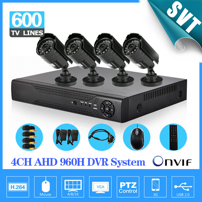 4CH Full AHD 960H D1 Real Time CCTV HDMI 1080P DVR NVR kit with 600TVL outdoor waterproof Security Camera video System 4 channel(China (Mainland))