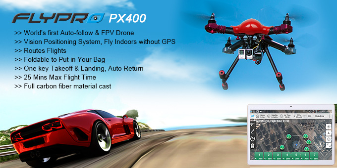 Clearance FLYPRO PX400: World's First Auto-follow and FPV Drone quadcopter VS DJI inspire 1 and phantom 3
