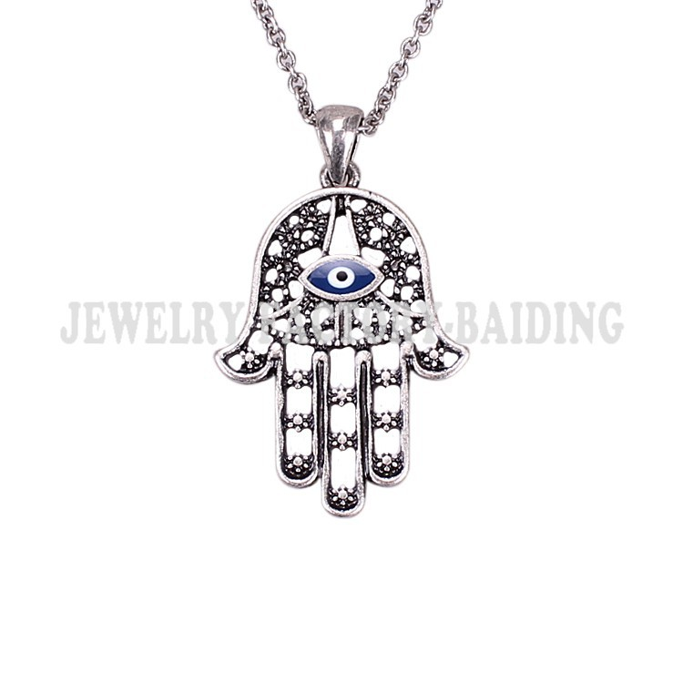 ! blue lucky eye hamsa necklece,alloy fatima hand necklace, Vintage jewelry, factory direct - Yiwu Baiding Trade Co., Ltd. store