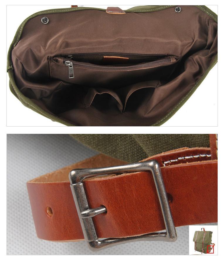 Fashion Korea Style Man Canvas Mix Genuine Leather Backpack Khaki