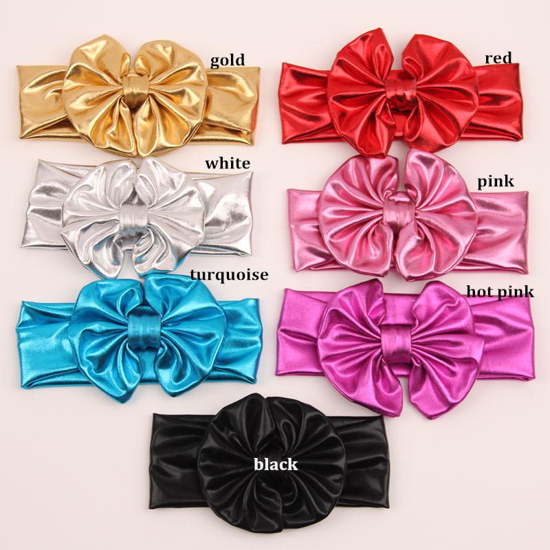ePacket Free 70 pcs/ lot , Newly Design 2015 New Fashion Children Metallic Messy Big Bow Girls Headband Baby Hairband(China (Mainland))
