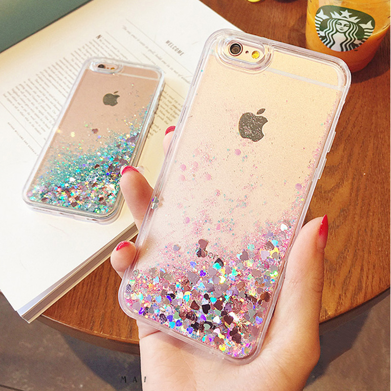 Soft TPU Case For iPhone 7 6 6S Plus 5 5S SE Heart Stars Glitter Shell Cover For iPhone 7 Case 6 Plus Cell Phone Case Capa Coque(China (Mainland))
