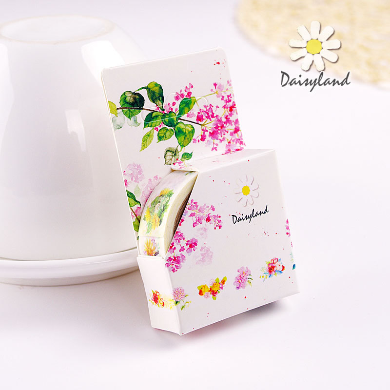 DIY Cute Kawaii Pink Flower Decorative Washi Tape For Home Decoration Scrapbooking Diary Kids Gift Free Shipping 3415(China (Mainland))