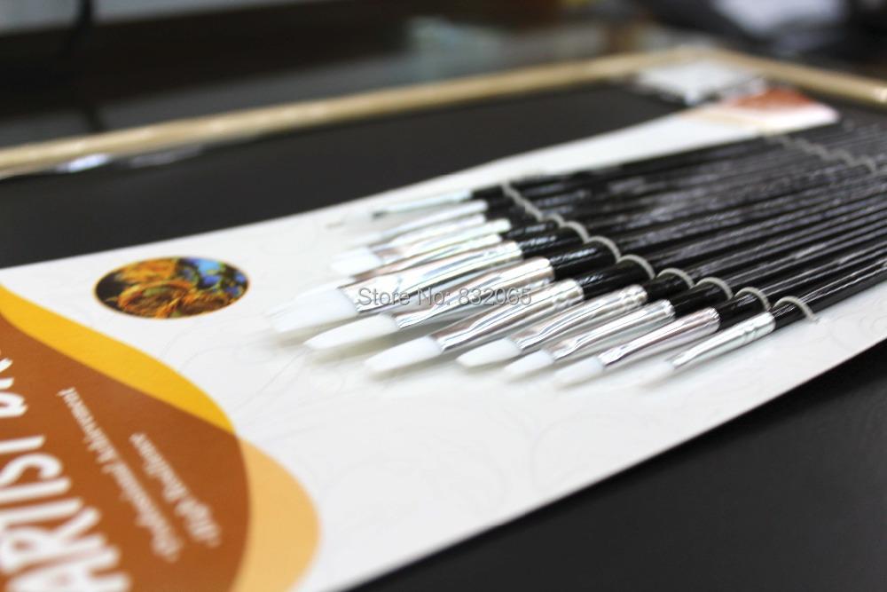 worison 12 brushes/set  paint brushes set  for artist  Flat head brush<br><br>Aliexpress