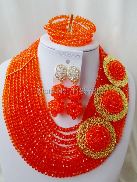Fashion Nigerian African Wedding Beads Jewelry Set ,Orange Crystal Necklace Bracelet Earrings Set A-8674<br><br>Aliexpress