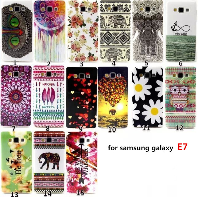 E7 Case Owl Painting TPU Silicone Mobile Phone Covers Samsung Galaxy Bag Fashion Style - Lucky baby Star store