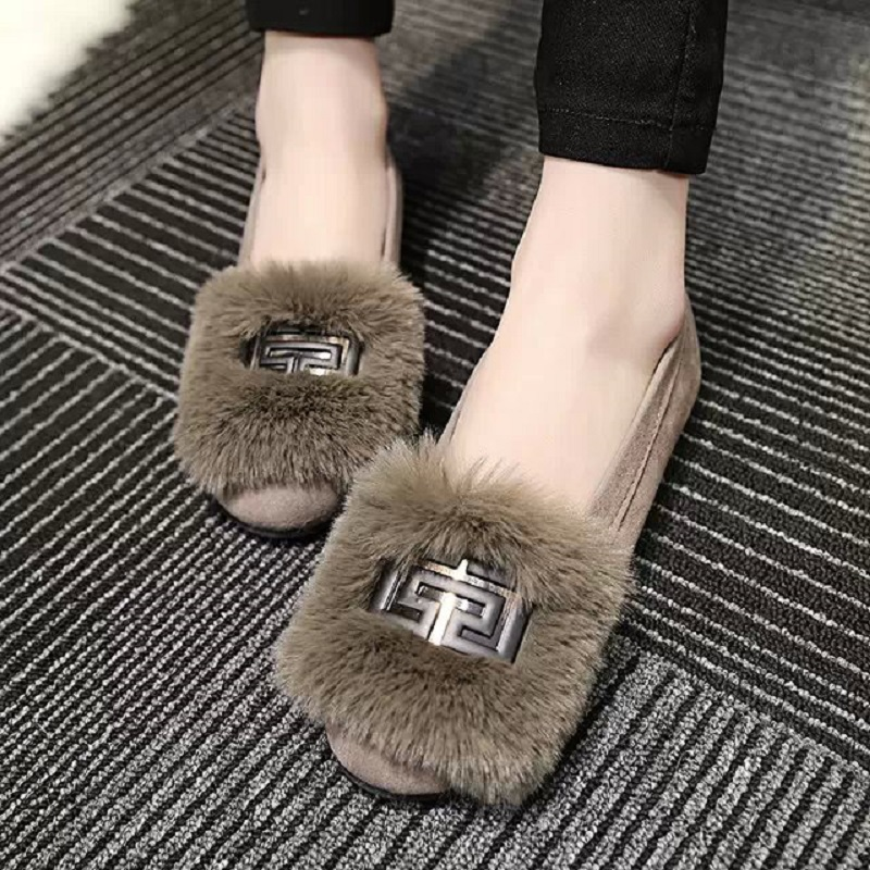 2015 new autumn and winter warm woman Peas shoes, women shoes plus hair pregnant shoes, comfortable flat shoes, free shipping