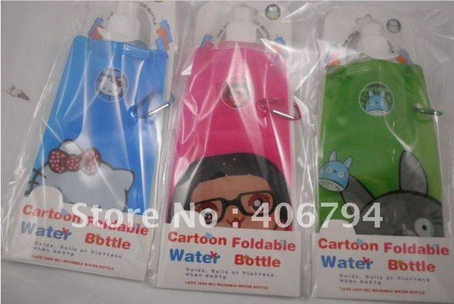 100pieces/lots Freeshipping 100% guaranteed Newest foldable water bottle 480ml (blue green pink black purple orange)