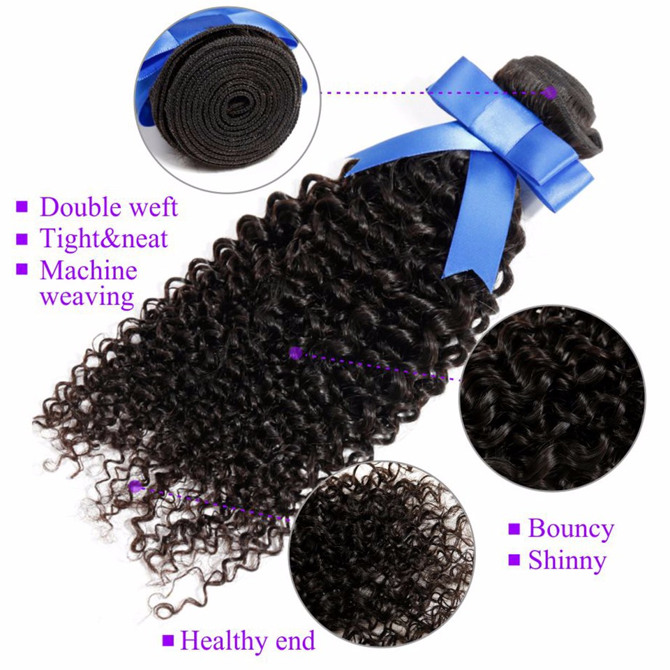Brazilian Hair Weave Bundles Kinky Curly Virgin Hair With Closure Cheap 7A Brazilian Virgin Hair Afro Kinky Curly Hair Extension