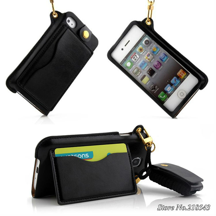 Brand Wallet Case for iPhone 4s 4 Mobile Phone Bag for apple iPhone 4s Stand Design Card Holder Luxury Leather Flip Cover Case(China (Mainland))