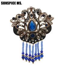 Sunspice MS Vintage Turki Retro Manik-manik Resin Bros Perhiasan Emas Antik Warna Cat Hitam Hollow Bunga Etnis Pernikahan Hadiah Pin(China)