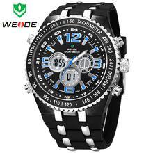 Nuevos hombres de WEIDE reloj deportivo caja de acero banda de goma multifunción cuarzo militar relojes redondos del Dial Digital reloj análogo