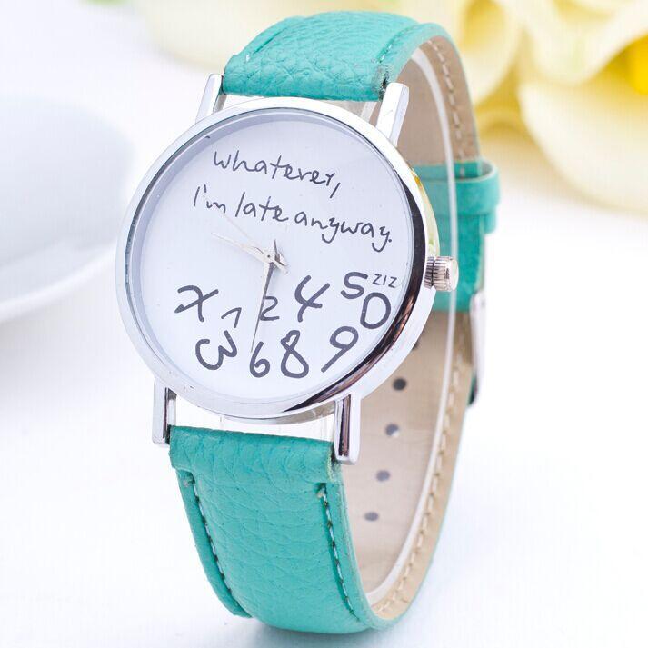 Гаджет  2015 New Fashion Casual Watch Women Gilr Student Whatever I am Late Anyway Cartoon Watch PU Leather Women Wristwatch Clock Hour None Ювелирные изделия и часы
