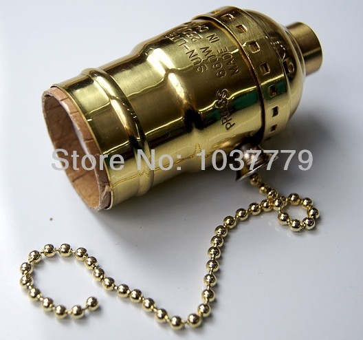 50pcs/lot gold color E27 pull chain switch vintage sockets<br><br>Aliexpress