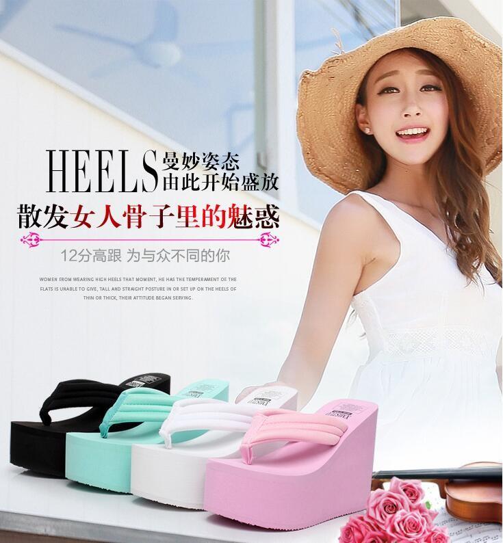 Free Shipping 2016 Ultra High Heels Beach Slippers Summer Wedges Platform Sandals Flip Flops Women Shoes