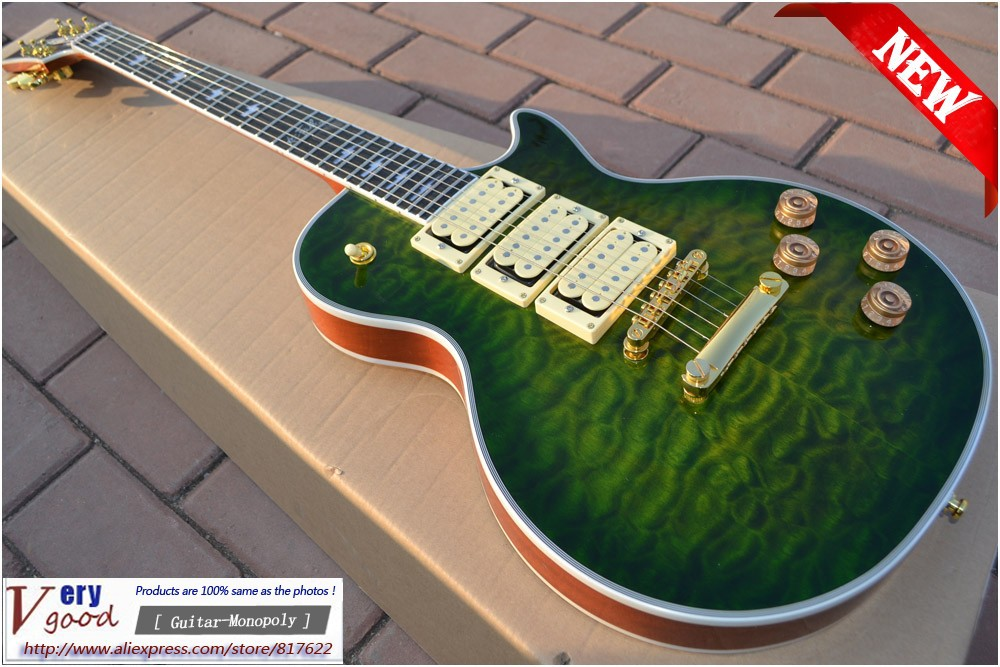 New! Green flame maple top, 3 Pickups Electric Guitar with Ace Signature Electric Guitar free shipping<br>