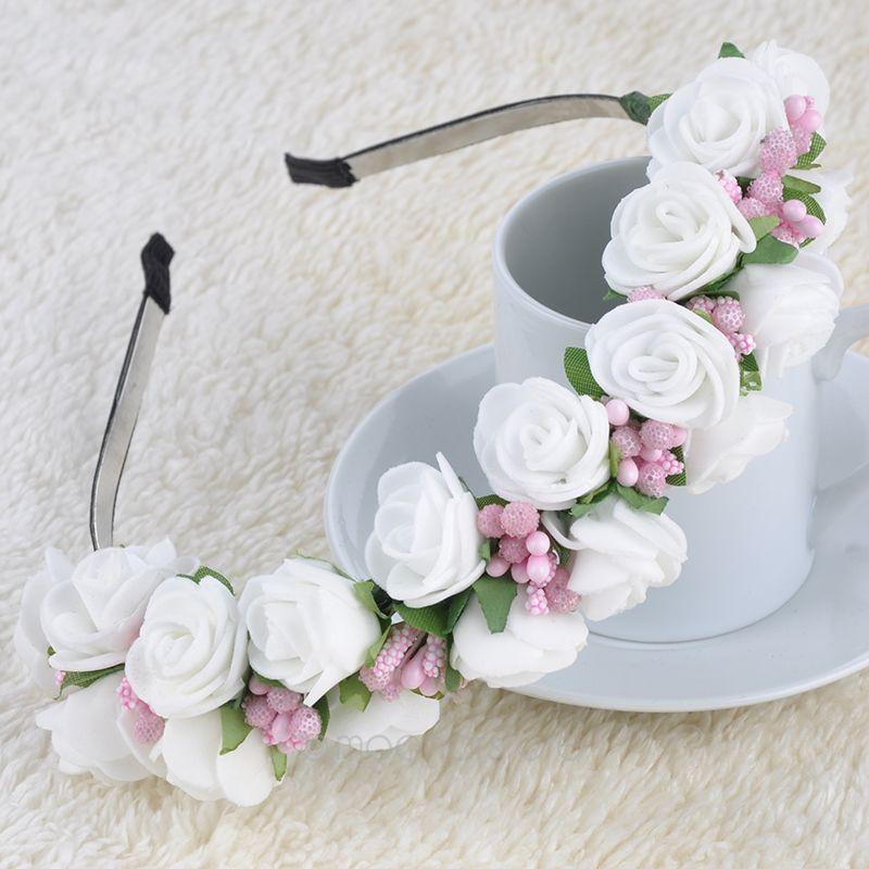 Womens Floral Headband Wedding Bohemia Hair Band Flower Headwrap Garland for Celebrity Wedding Bridal Party Beach PMHM049*50(China (Mainland))
